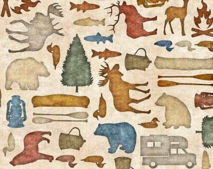 Quilting Treasures Backcountry Dan Morris Forest Animal Silhouette Camping Outdoor Cabin Ecru Beige Fabric 26734-E BTY