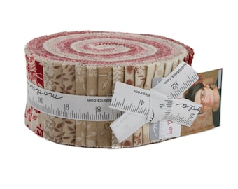 Moda French General La Vie En Rouge Red Cream Beige Tan Jelly Roll 2.5 Fabric Strips