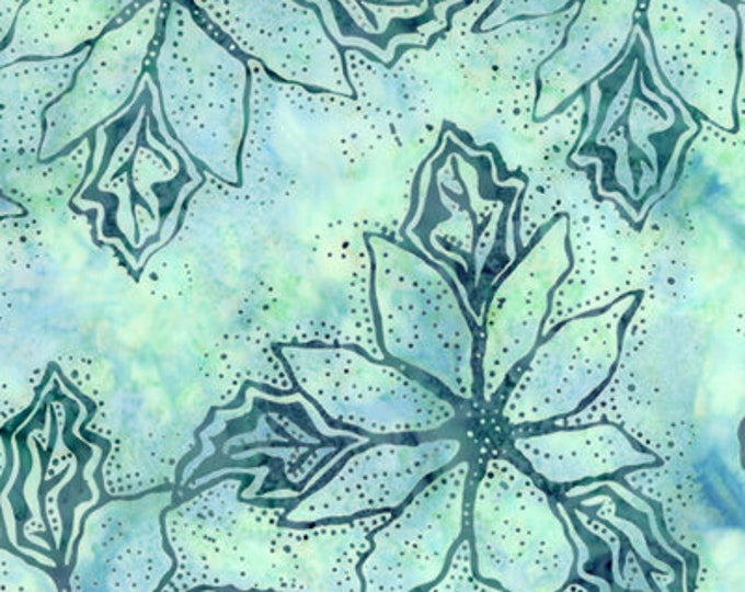 Hoffman Christmas Bali Poinsettia Aqua Teal Mint Green OOP Retired J2397-41 Batik Fabric BTY