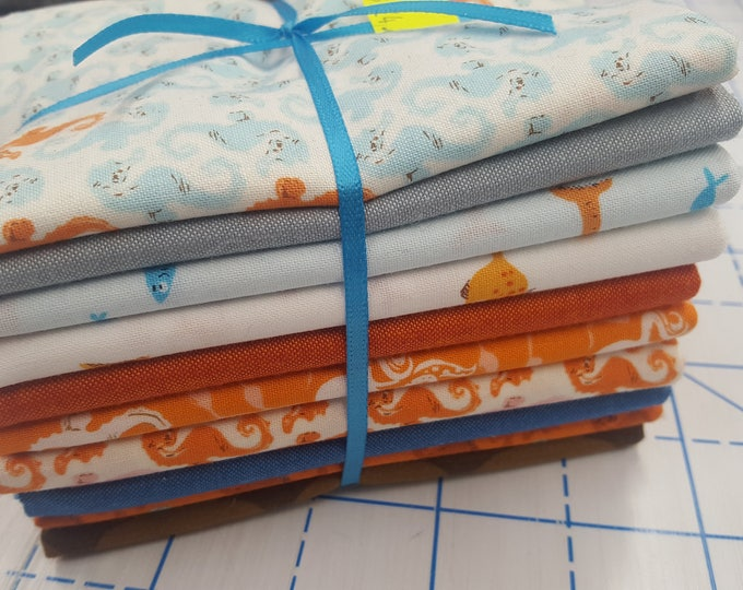 Windham Mendocino Seahorse Mermaid Turtle Fabric Orange Blue Gold 10 Fat Quarters