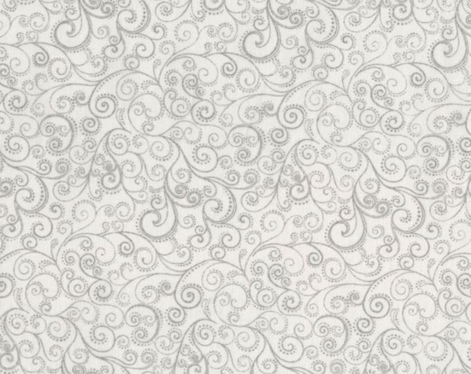SALE RJR Holiday Accents White Silver Swirl Dot Christmas Fabric BTHY