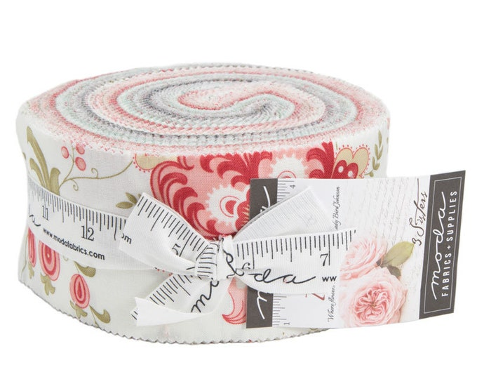 Moda 3 Sisters Porcelain Shabby Chic White Pink Red Gray Jelly Roll Fabric 40 2.5 Strips