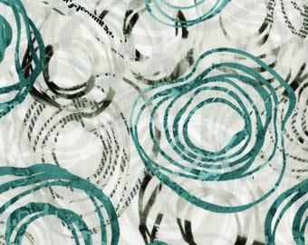 RJR Urban Artifacts Leslie Tucker Jenison Orbitals Teal Newsprint  Fabric 3064-001 BTY