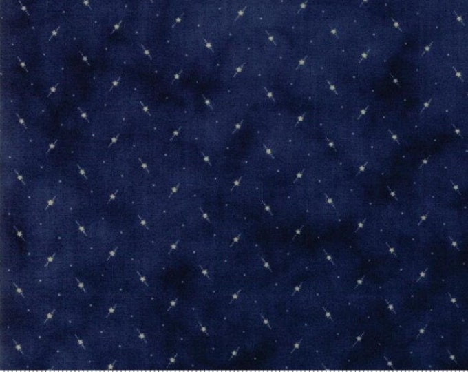 Moda Star and Stripe Gatherings Blue with Cream Star Dot Fabric 1266-17 BTY