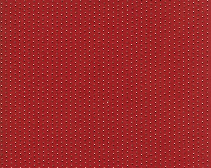 Moda Primitive Gatherings Needle Gatherings Russet Red White Black Dot Civil War Fabric 1236-13 BTY
