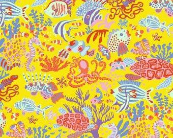 NEW Free Spirit Kaffe Fassett Spring 2018 Jolly Scuba Yellow Ocean Fish Seahorse Fabric PWBM064 BTY