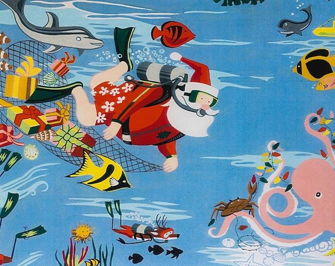 Alexander Henry Scuba Santa Christmas Holiday Light Bue Fish Octopus Dolphin 8753-B Fabric BTY