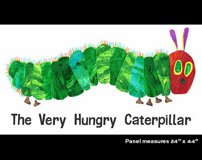 Andover The Very Hungry Caterpillar Eric Carle Green Blue Yellow Red Panel Fabric 7914-X BTP