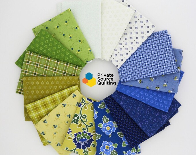 Marcus Nancy Rink Cottage View Blue Yellow Cream Green Floral 16 Fat Quarters Fabric
