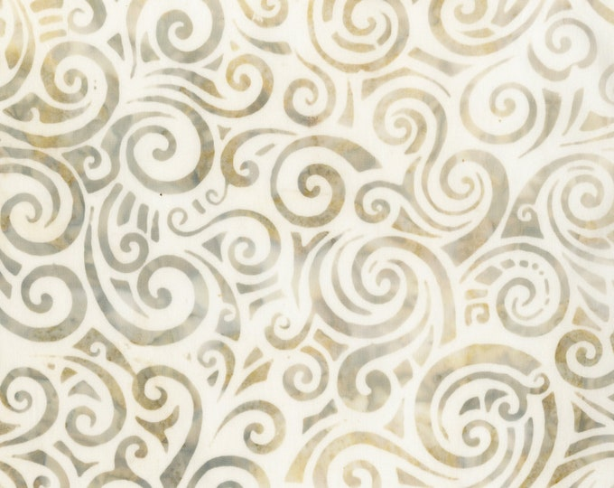 Anthology Art Inspired Batik Whisper V2 Cream Tan Brown Beige Swirl Fabric 930Q-1 BTY