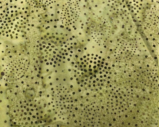 Hoffman BPN004-106 Mckenna Ryan CELERY Green Leaf Dot  Batik Fabric BTY
