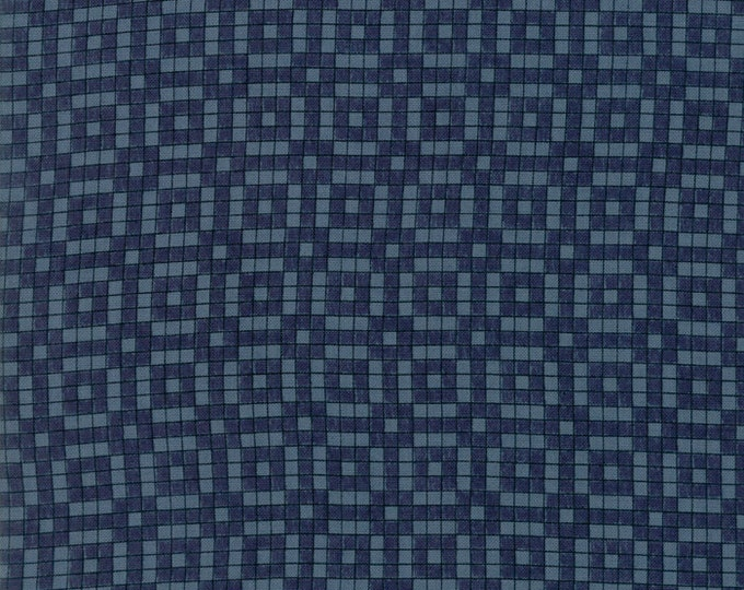 Moda Aubade Song to the Dawn Janet Clare Navy Blue Squares Fabric BTHY 1425-17