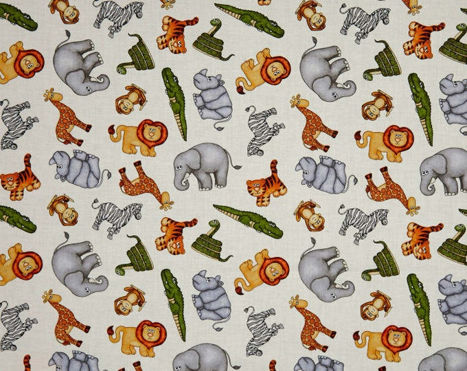Quilting Treasures Jungle Buddies Lion Snake Monkey Tiger Kids Cream Fabric 26412-E BTY