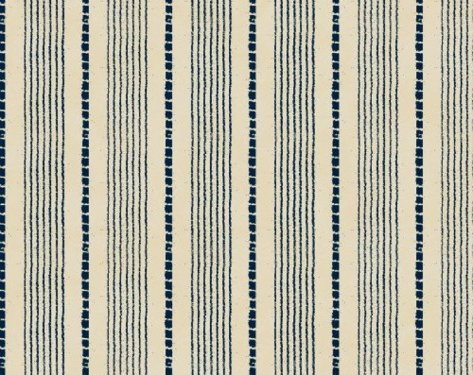Windham Fabrics Basics  Dash Navy with Beige background solid stripes with dotted lines cotton 27690-3  BTY
