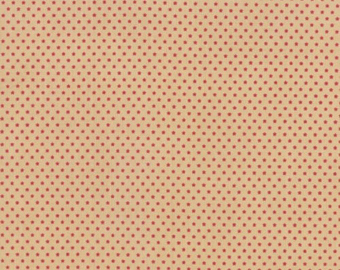 Moda French General Petite Prints Oyster Tan Red Tiny Star Fabric 13696-14 BTY
