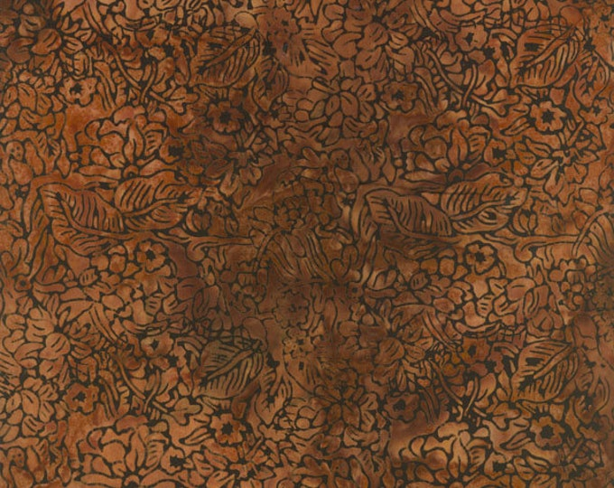 RJR Malam Jinny Beyer Batik Fabric Bark Brown Tan Floral 1763-003 BTY