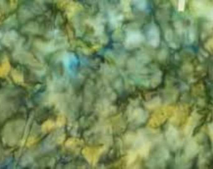 Hoffman Bali Batik Fabric 839-581 Blue Grass Mottled Green Blue Yellow BTY