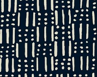 Windham Twilight Indigo Navy Blue White Line Dot 100% Cotton Mud Cloth 41098-1 BTY