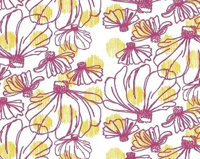 Windham Beyond the Reef Natalie Barnes Homeward White Pink Yellow Floral Fabric BTY 50809-8