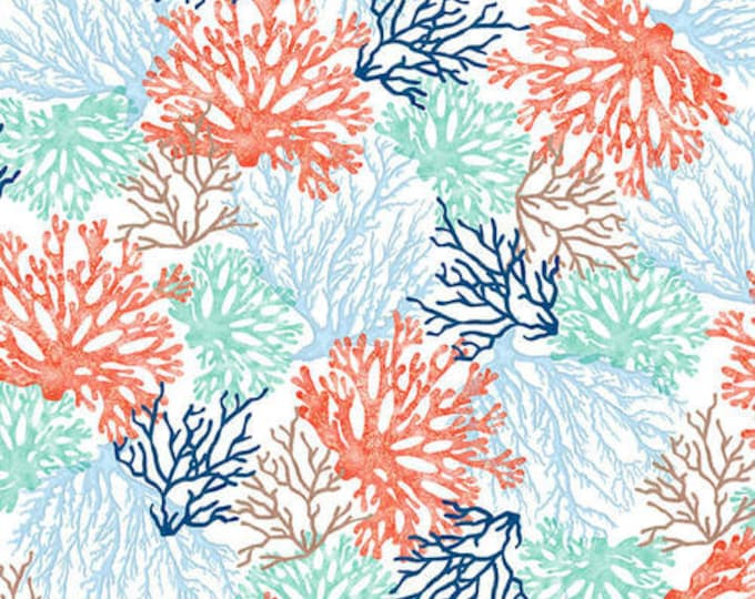 Studio E Fabrics Coastal Dreams Coral Beach Seashell Beach house White Blue Aqua Orange Fabric BTY 4855-1