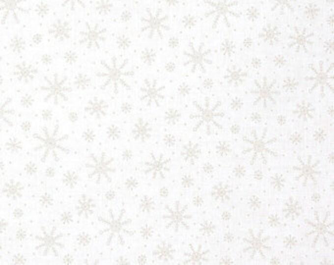 Moda Studio M Muslin Mates Winter Snowflake White on White Tonal Background Fabric 9929-11 BTY