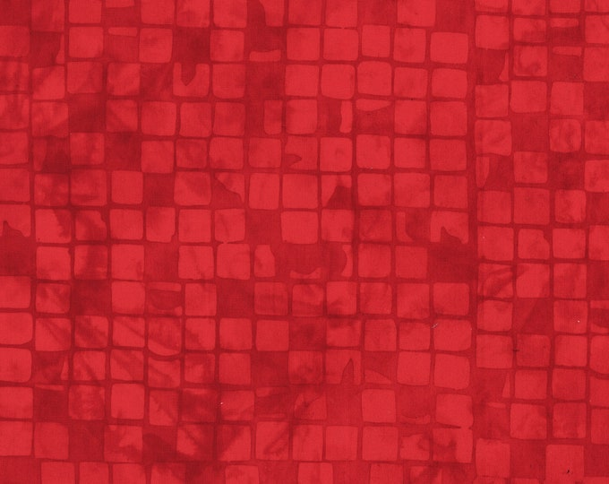 Anthology Art Inspired Fire Engine Red Checkerboard Square Batik Fabric 808Q-1 BTY