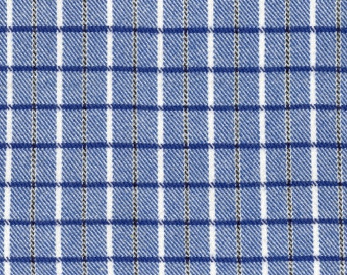 Marcus Primo Plaids Flannel Color Crush Blue White Plaid Fabric 9774-0119 BTY