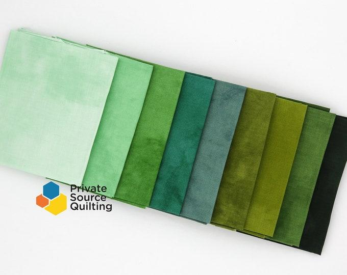 Windham Palette Green Tea Marcia Derse Green Hunter Forest Sage Solid Cotton Fabric 9 Fat Quarter Bundle