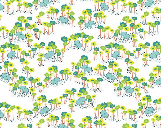 Blend Sundaland Jungle Katy Tanis Pygmy Elephants White Blue Green Fabric BTY