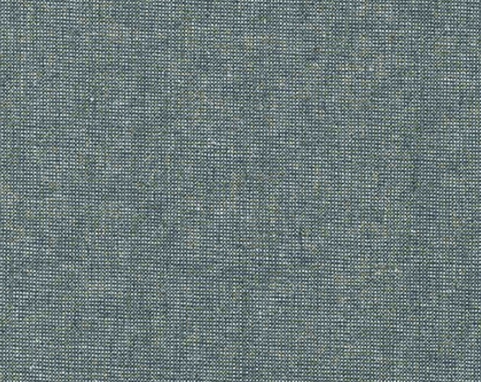 Kaufman Essex Yarn Dyed Metallic 50 Linen 40 Cotton 10 Lurex Linen Blend Canvas STORM E105-458 Fabric BTY