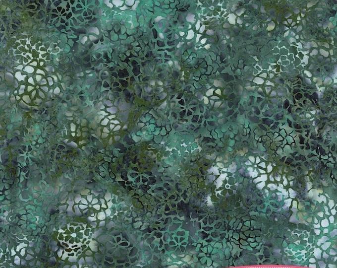 Hoffman Bayou Batik Chamomile Packed Mums Teal Blue Aqua Green N2844-418 Fabric