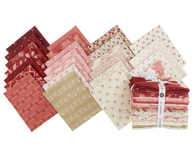 NEW Andover Edyta Sitar Laundry Basket Quilts LBQ Braveheart Red Pink Beige 24 Fat Quarter Bundle Fabric