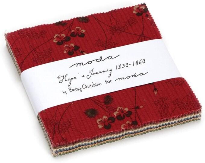 Moda Hopes Journey Betsy Chutchian Red Yellow Green Blue Cream 5 x 5 Civil War Charm Squares Fabric