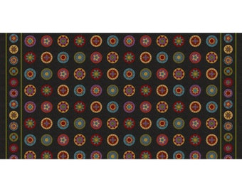 Maywood WOOLIES Penny Rug Border Black Red Gold Flannel Fabric BTY MASF8600-J