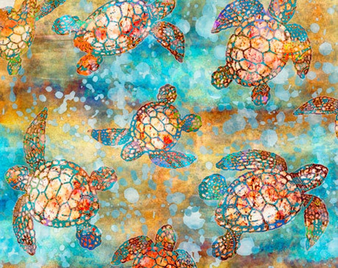 Quilting Treasures Oceana Dan Morris Ocean Turtle Amber Yellow Orange Blue Aqua Fabric 27089-X BTY