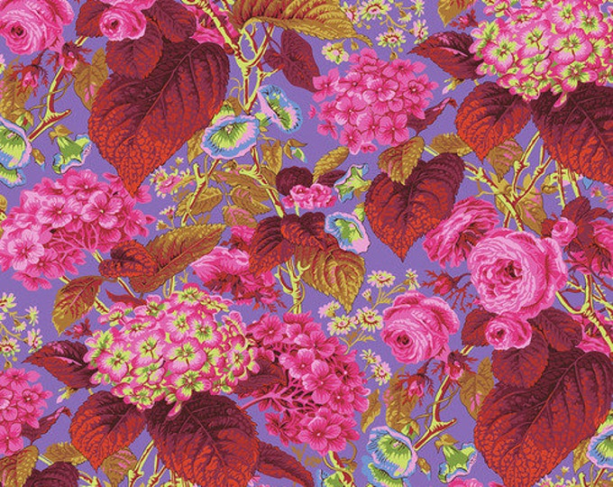 NEW Free Spirit Kaffe Fassett Rose and Hydrangea  Red Pink Blue Green Floral PWPJ097.HOT Fabric BTY