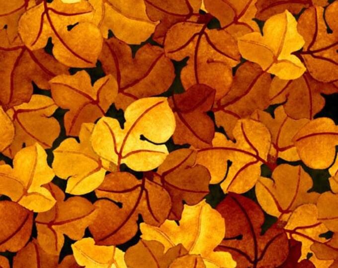 In the  beginning Autumn Harvest Leaves Orange with dark purple  tones 6AH3  Cotton   BTY