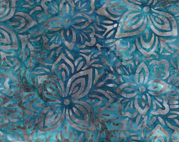 Anthology Art Inspired Batik Blue Grey Floral  Blue Teal Fabric 16013 BTY