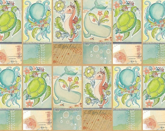 Blend Fabrics Mermaid Days Mermaid Turtle Whale Seahorse Panel Fabric 24 x 44