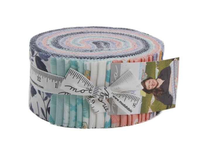 Moda Twilight by One Canoe Two Camping Pink Mint Navy Firefly Moth Floral Jelly Roll 2.5 Fabric Strips