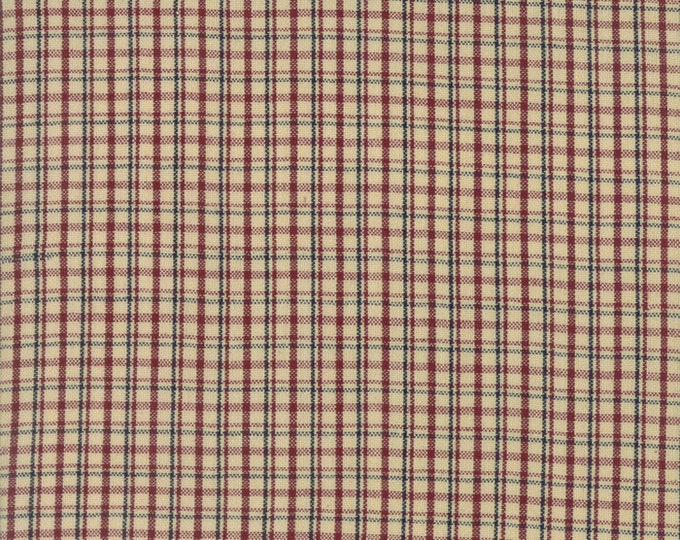 Moda Liberty Gatherings WOVENS Cream Tan with Red Navy Plaid Fabric 12709-28 BTY