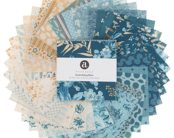 Andover Edyta Sitar Laundry Basket Quilts LBQ Something Blue Cream 5 x 5 Inch Charm Squares Fabric