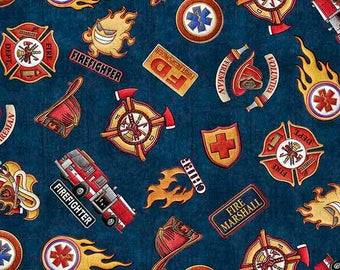 5 Alarm Fire Fighter Fireman Truck Axe Flame Navy Blue Badge 26295-N Fabric BTY