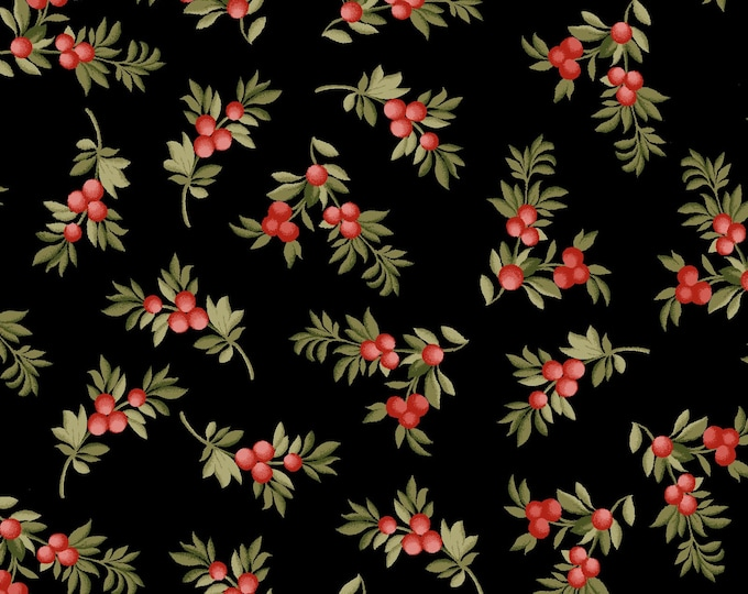 Maywood Fabric MAS9324-J A Fruitful Life Berry Branches Black BTY
