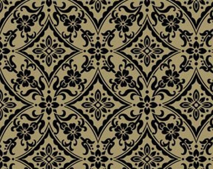 Benartex Fabric Palm Court Scroll dark Taupe with Black tones  Cotton 03226-78   BTY