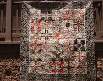BubbleGum and Chocolate Kris Cross Quilt Kit Civil War Pink Reproduction Fabric Backing INCLUDED Free Ship
