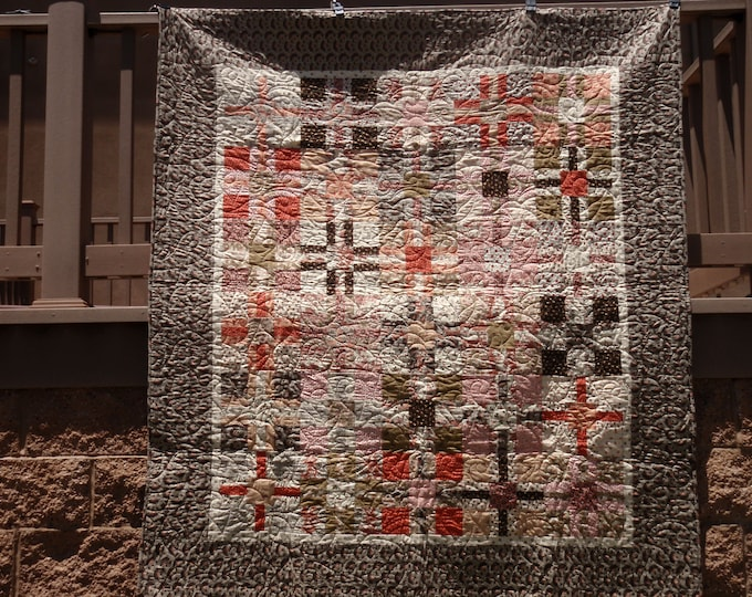 Bubble Gum and Chocolate Kris Cross Quilt Kit Civil War Pink Reproduction Fabric Backing INCLUDED Free Ship