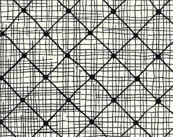 Windham Beyond the Reef Hand Maker Loom Black White Line Rectangle Natalie Barnes Fabric BTY