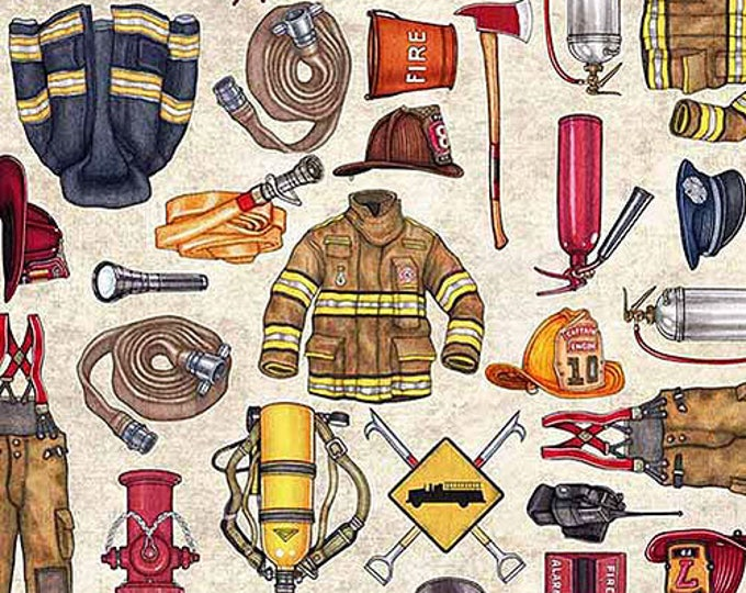 5 Alarm Fire Fighter Fireman Equipment Gear Cream Fabric BTY