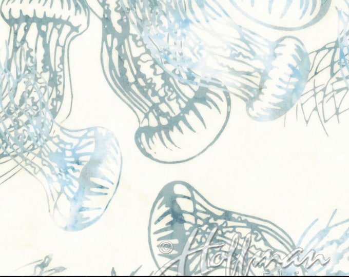 Hoffman Bali Batik Jelly Fish Blue Grass White Teal Blue Q2168-581 Fabric BTY